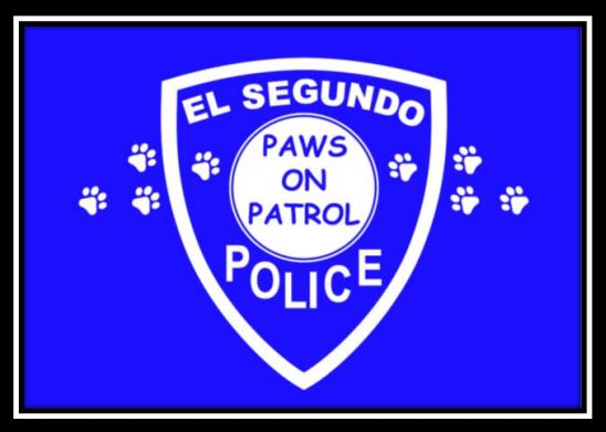 paws on patrol logo white on blue background with dog paw prints